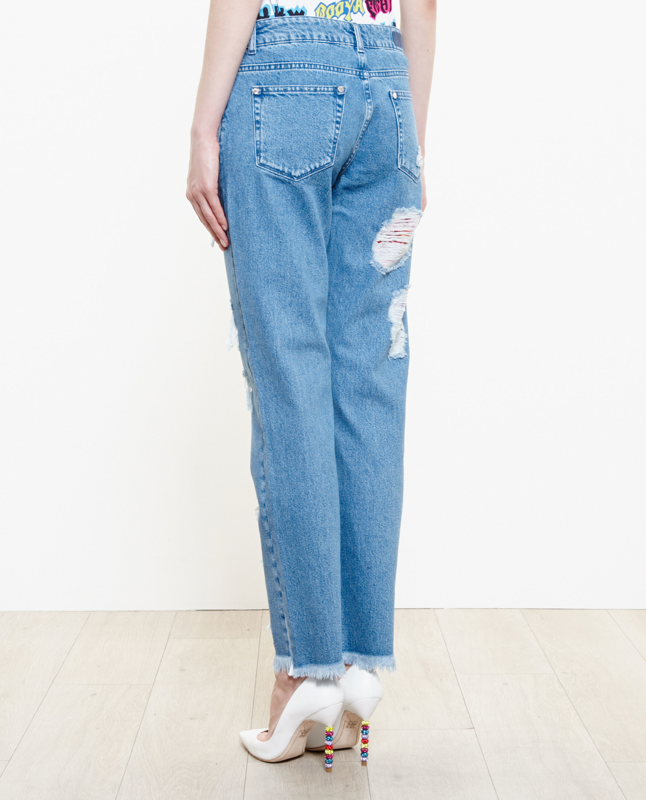 House Of Holland Distressed Boyfriend Jeans In Blue Lyst
