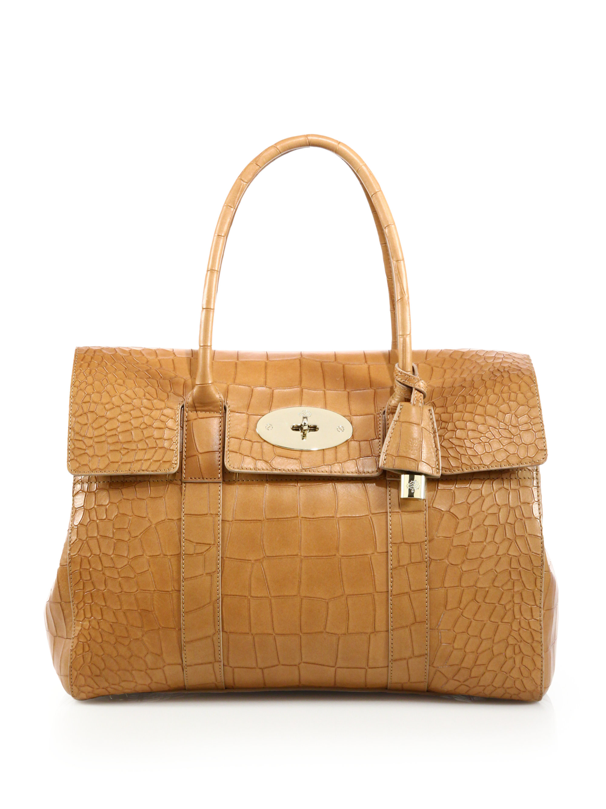 ... promo code for lyst mulberry croc embossed bayswater tote in brown  58ee2 18908 6344484a174f7