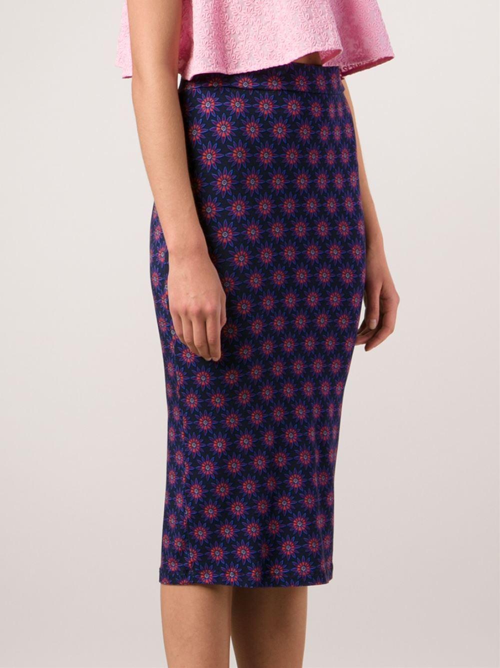 house of flower print pencil skirt in blue lyst