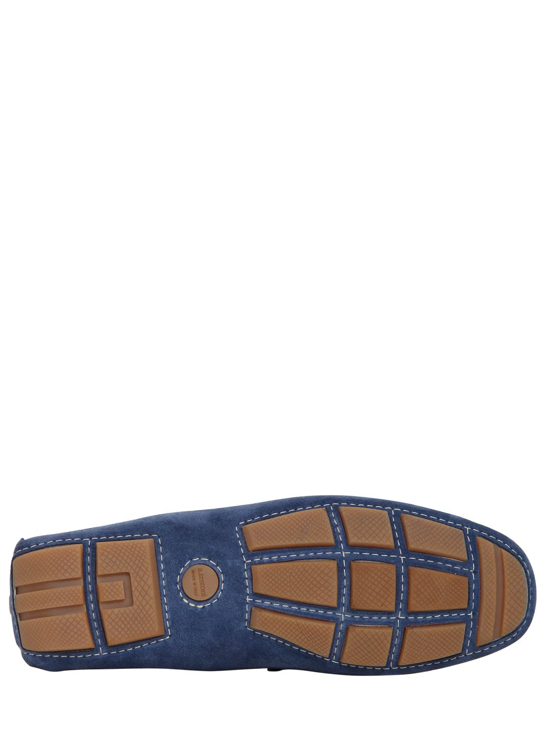 A.Testoni Crest Embroidered Suede Driving Shoes in Blue for Men