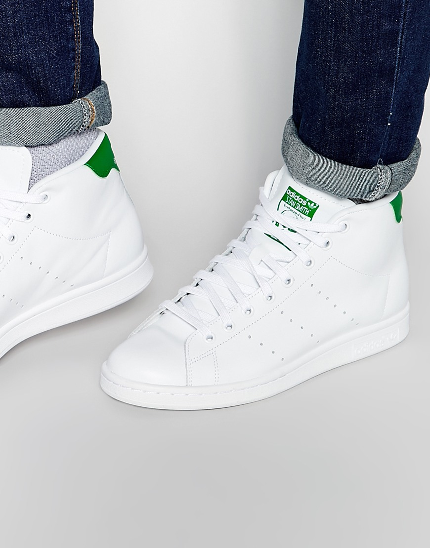adidas originals stan smith mid trainers s75028 in white for men lyst. Black Bedroom Furniture Sets. Home Design Ideas
