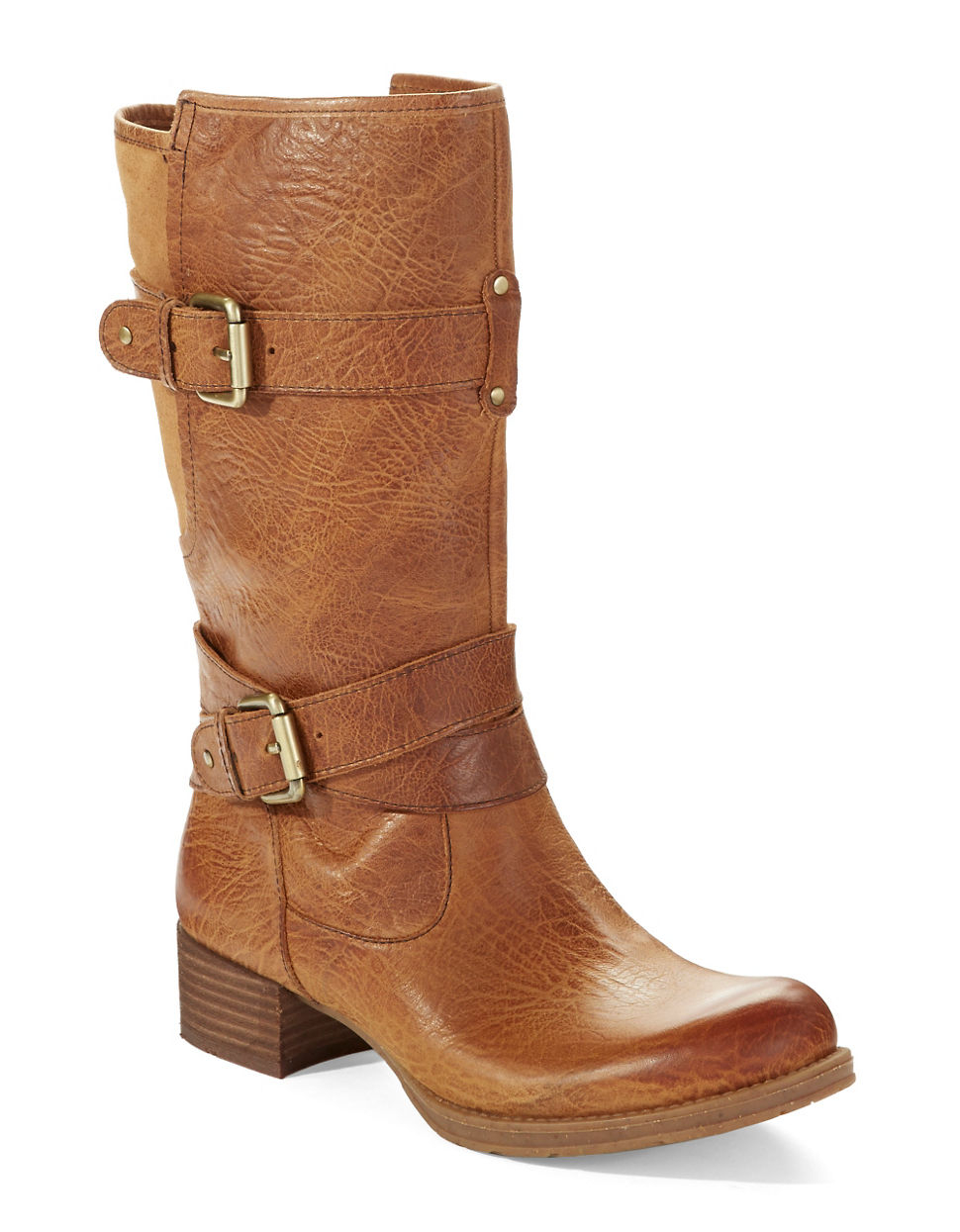 naya silence mid calf buckle boots in brown lyst