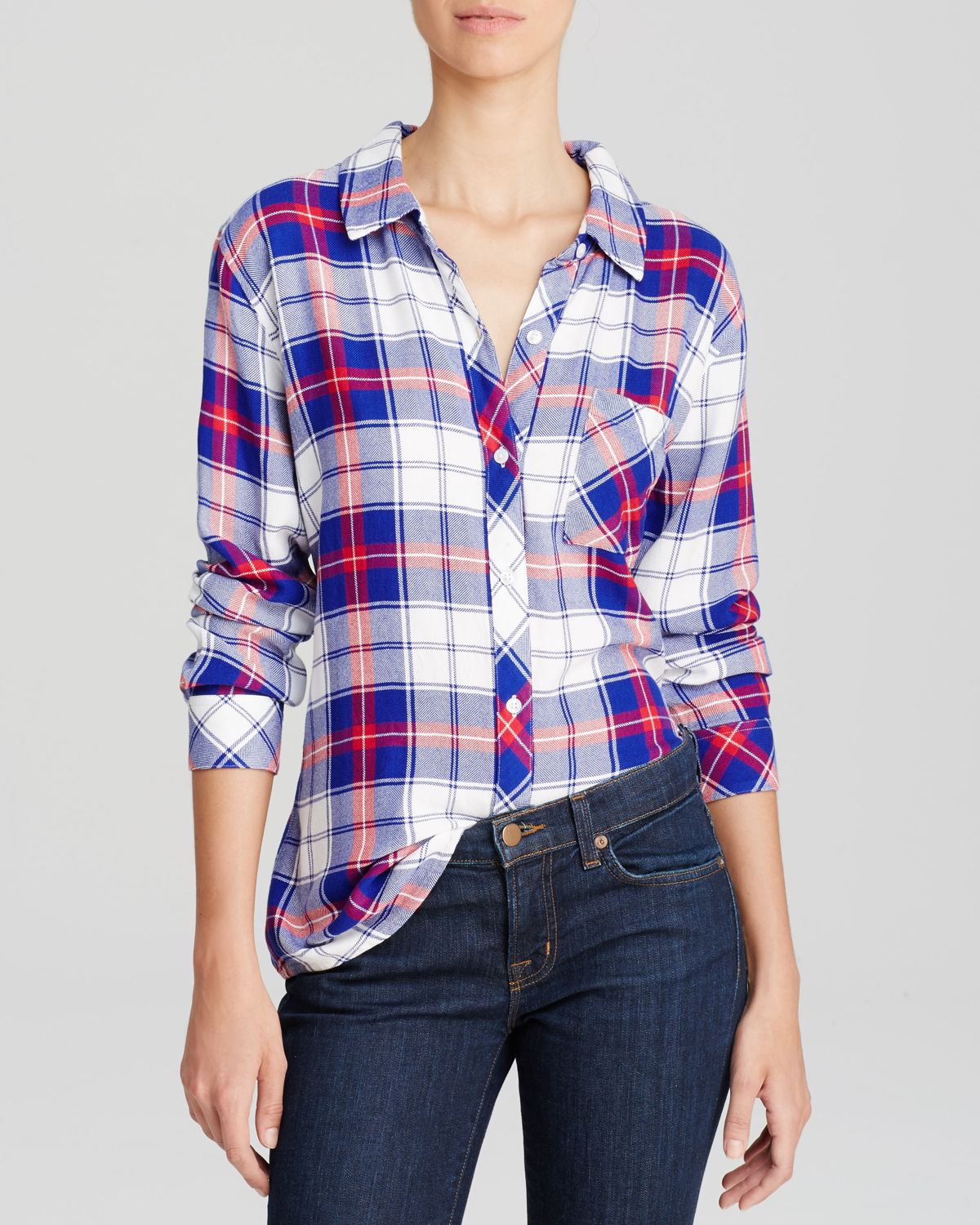 rails shirt exclusive plaid in red red white blue lyst