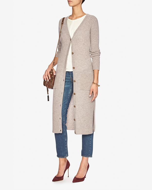 Autumn cashmere Ribbed Maxi Cardi in Pink | Lyst