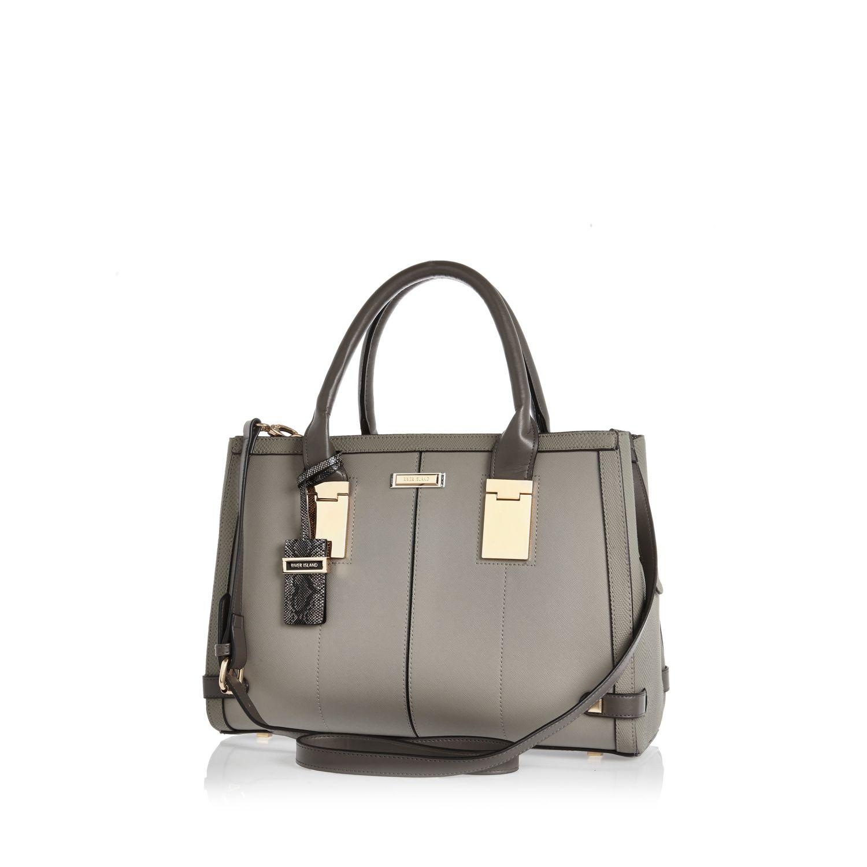 famous brand los angeles half off Grey Hinge Handle Large Tote Handbag