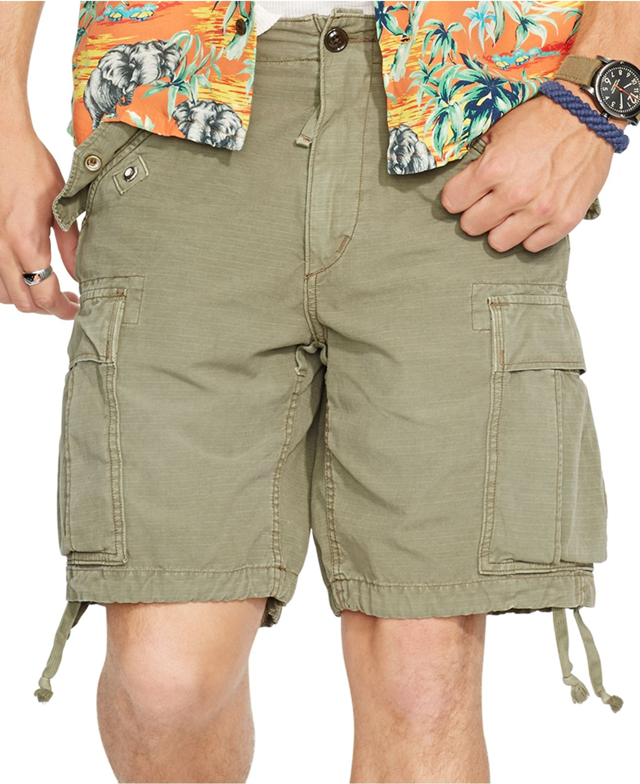Men Polo Ralph Lauren BIG /& TALL CLASSIC FIT Green RIPSTOP Military Cargo Shorts