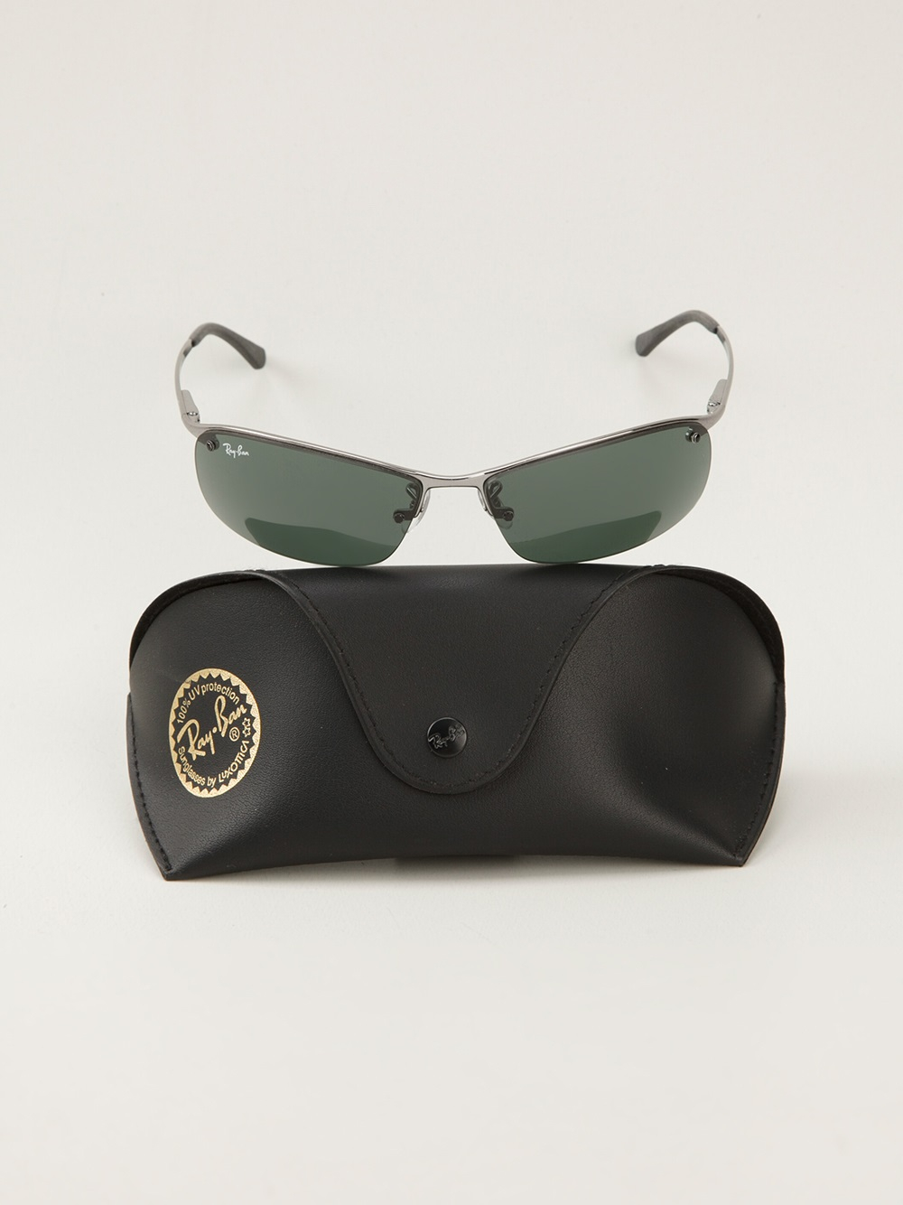 Ray Ban Oval Shape Sunglasses In Black For Men Lyst