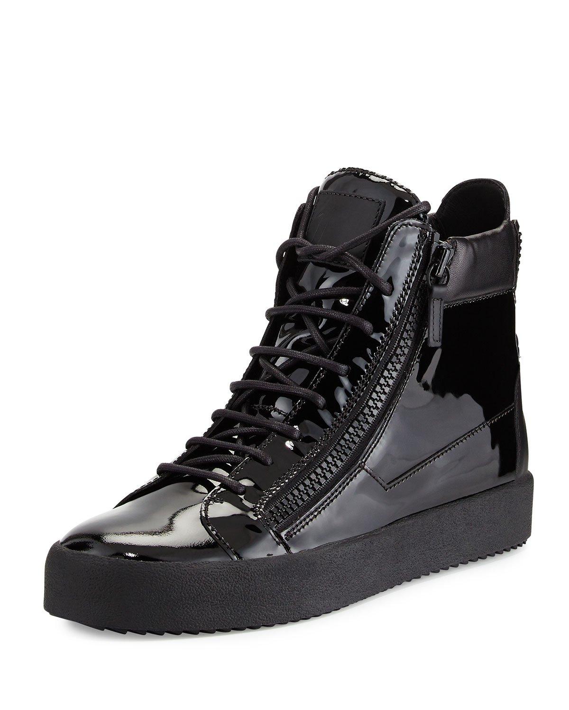 Giuseppe Zanotti Men's Patent Leather High-top Sneaker In