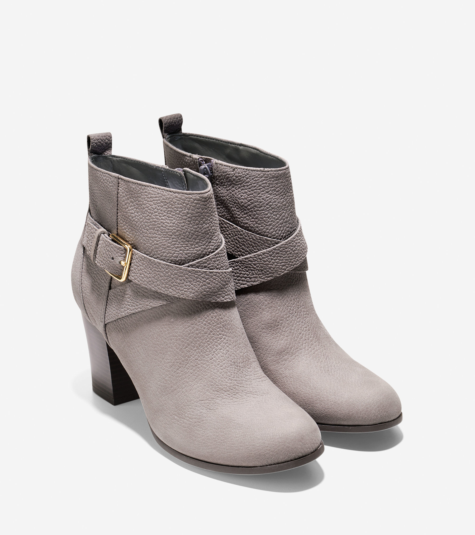 cole haan hinckley leather ankle boots in gray lyst