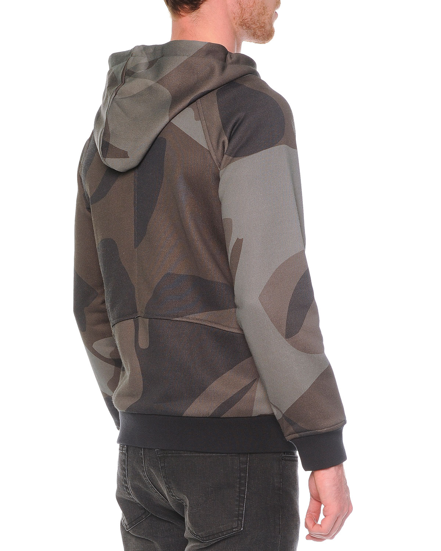 alexander mcqueen camo print asymmetric zip hoodie in natural for men lyst. Black Bedroom Furniture Sets. Home Design Ideas