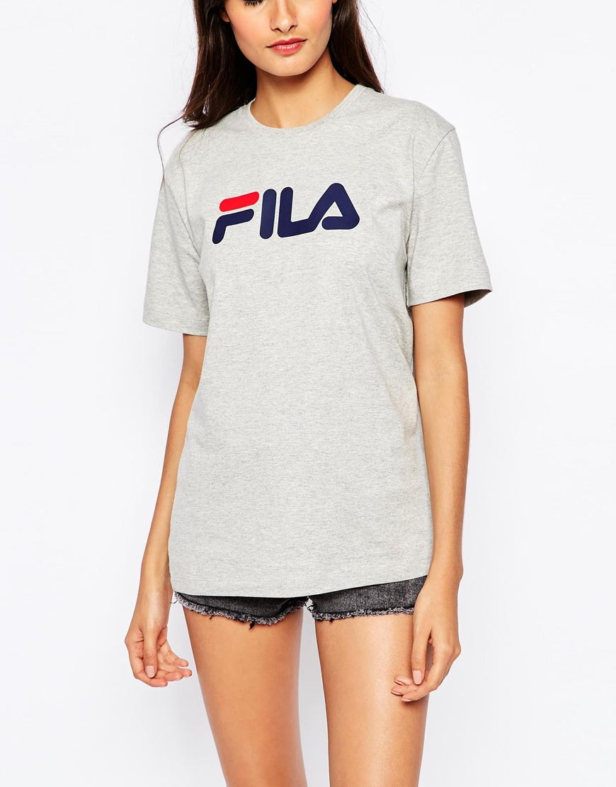 fila oversized boyfriend t shirt with front logo in gray. Black Bedroom Furniture Sets. Home Design Ideas