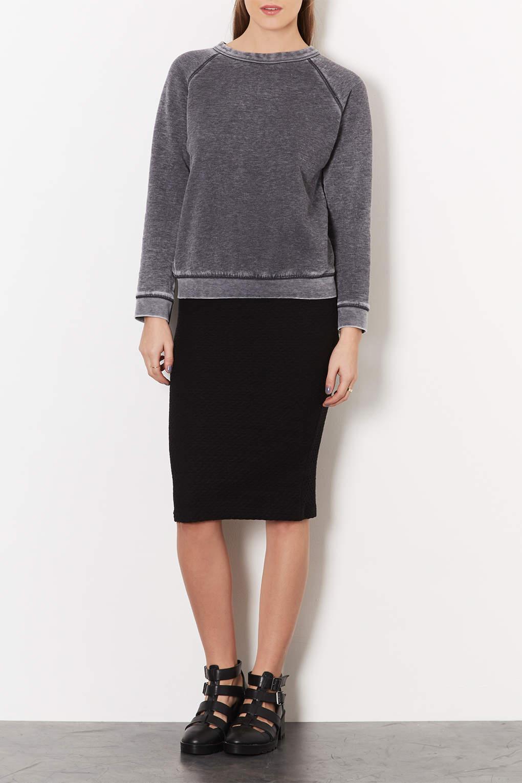 Topshop Texture Midi Tube Skirt in Black | Lyst
