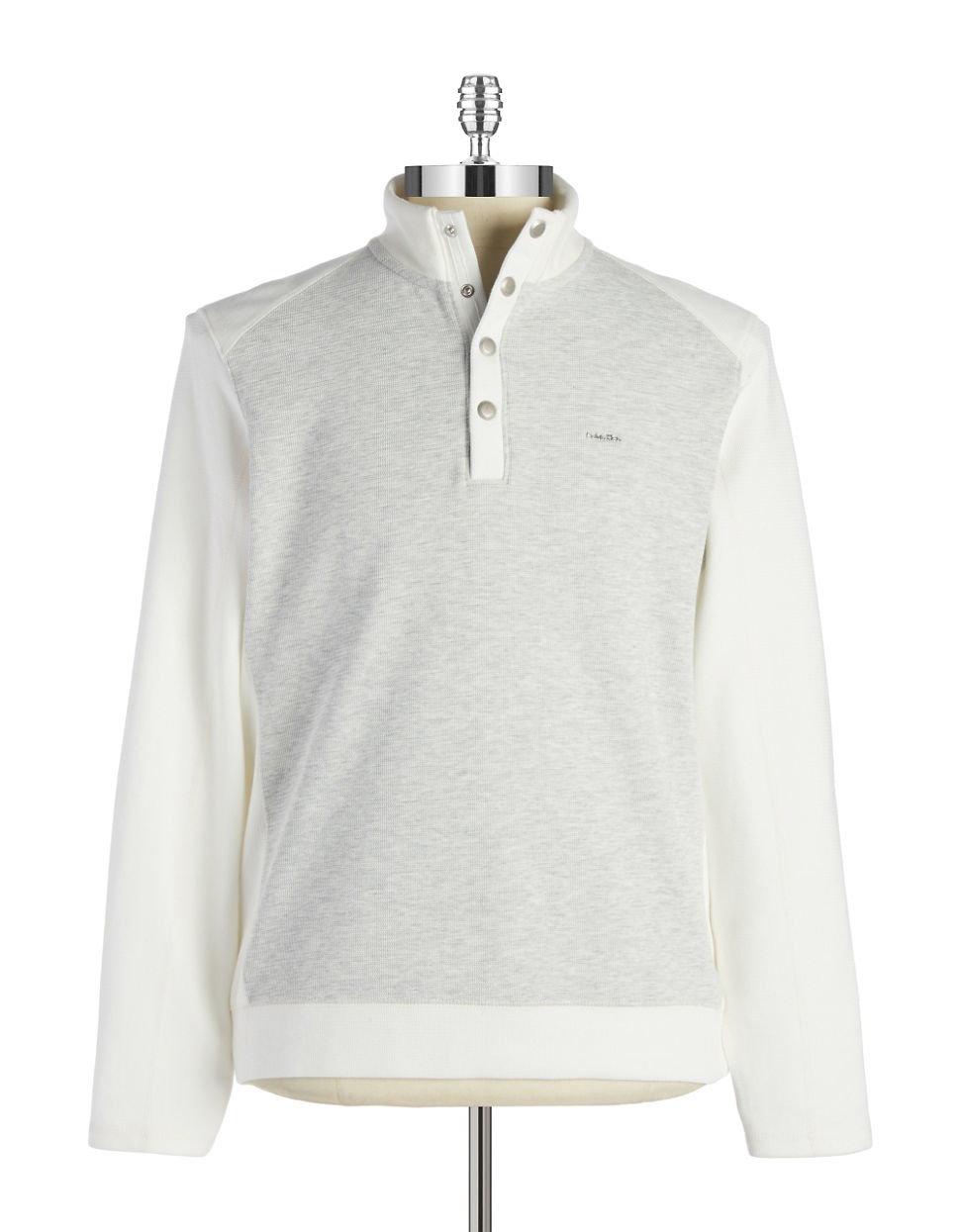 calvin klein colorblocked pullover sweater in white for men snow white lyst. Black Bedroom Furniture Sets. Home Design Ideas