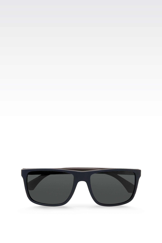 cd0b84444d Emporio Armani Blue Acetate Sunglasses With Rubber Details for men