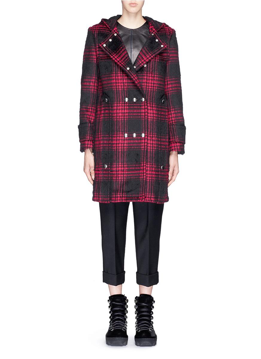 Alexander wang Triple Snap Button Front Tartan Plaid Duffle Coat ...
