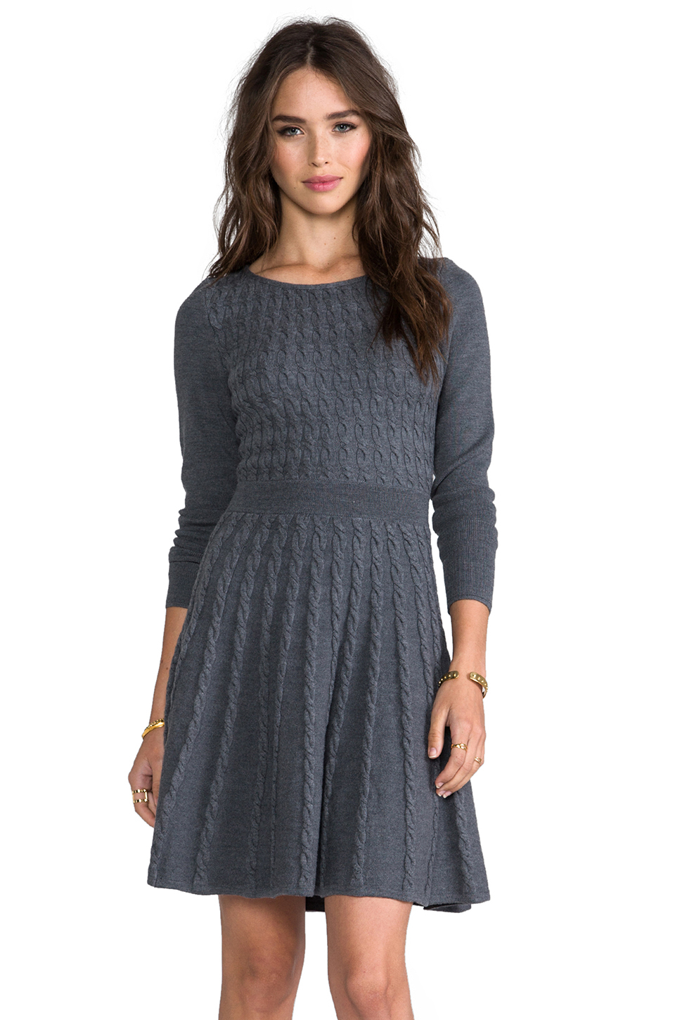 Milly Cable Fit And Flare Sweater Dress In Gray Lyst