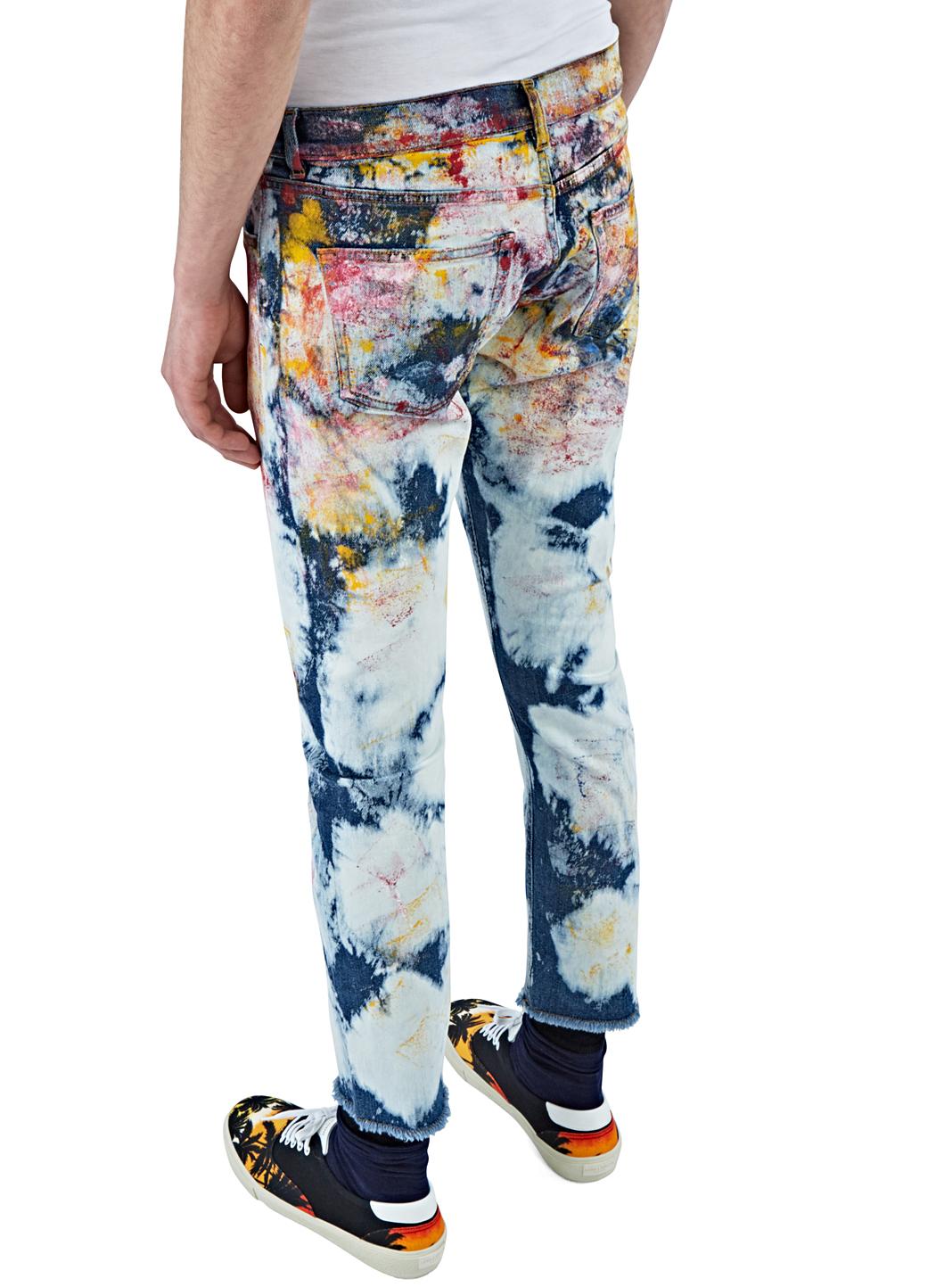 James Long Denim Men's Slim Tie-dye Painted Jeans In Multicolour in Blue for Men