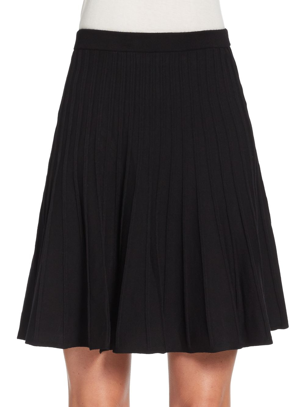 Saks fifth avenue black label Knit Circle Skirt in Black Lyst