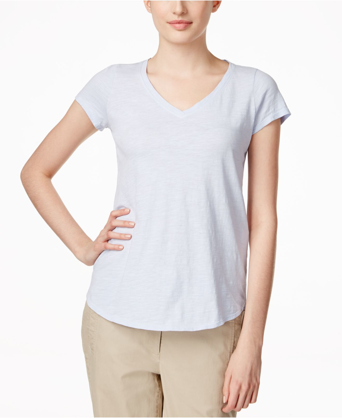 eileen fisher v neck t shirt in white lyst
