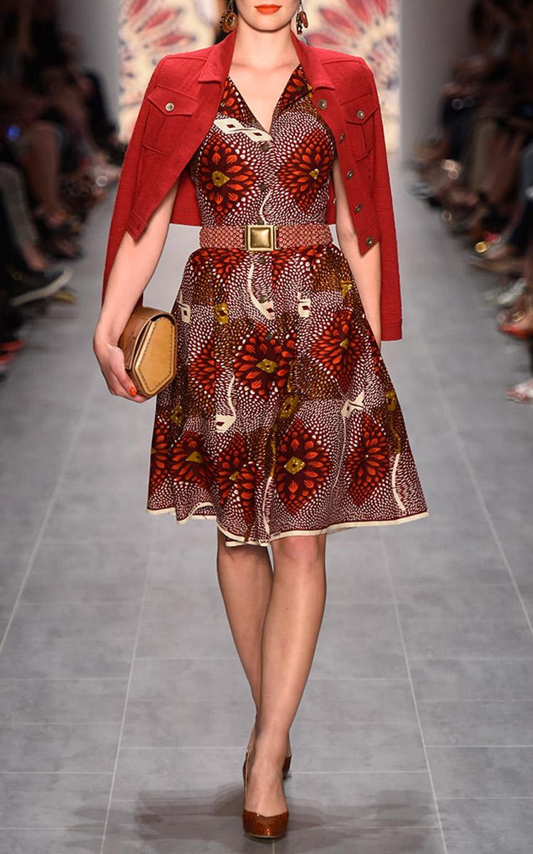Lyst Lena Hoschek Togo Dress In Red Dahlia Print In Red