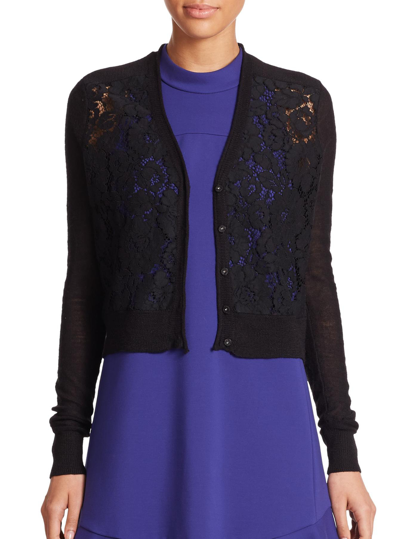 Rebecca taylor Lace-front Cardigan Sweater in Black | Lyst