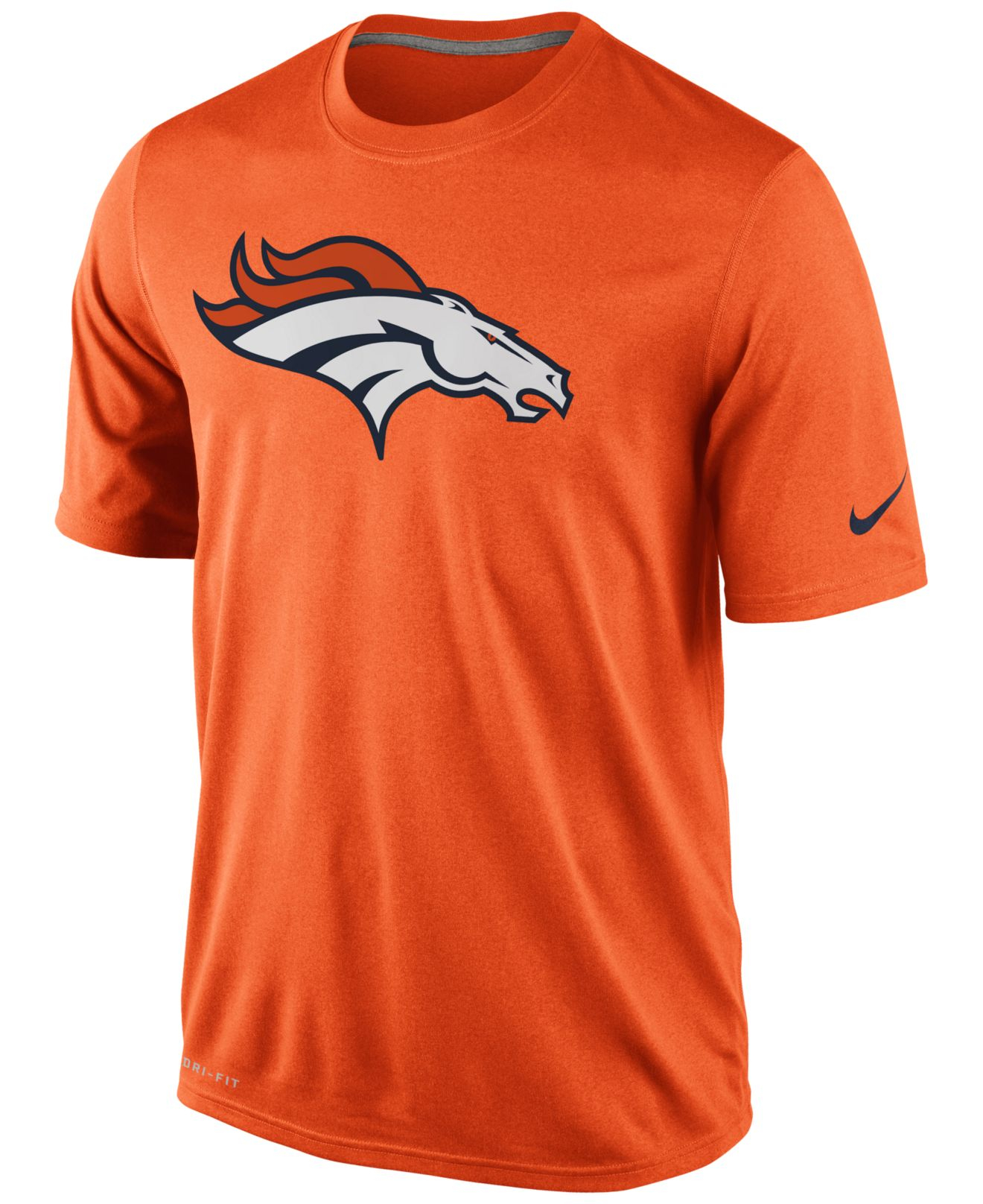 Nike men 39 s short sleeve denver broncos dri fit t shirt in for Dri fit dress shirts
