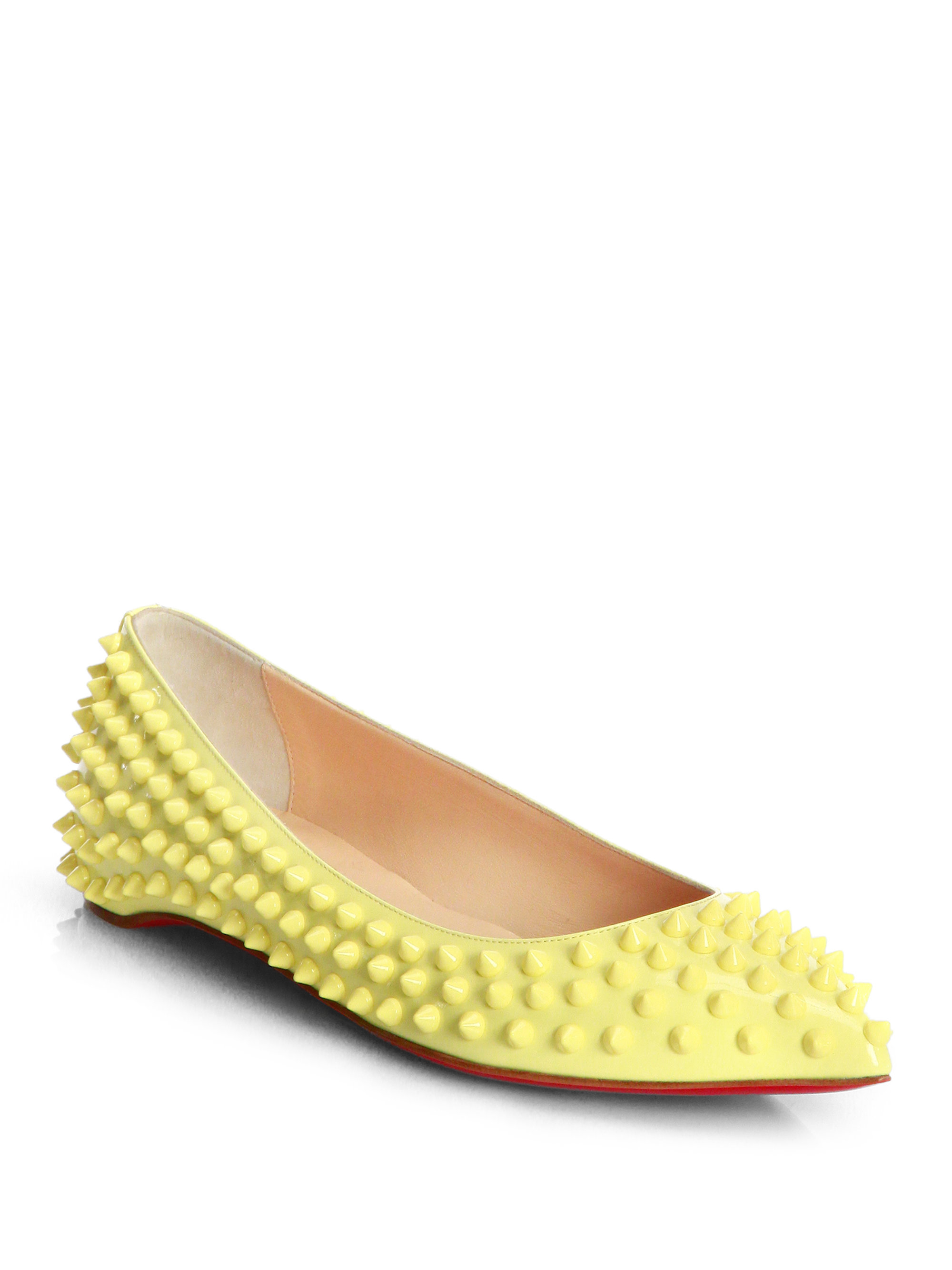 b1ce00dcc22 Christian Louboutin Yellow Pigalle Spiked Patent Leather Flats