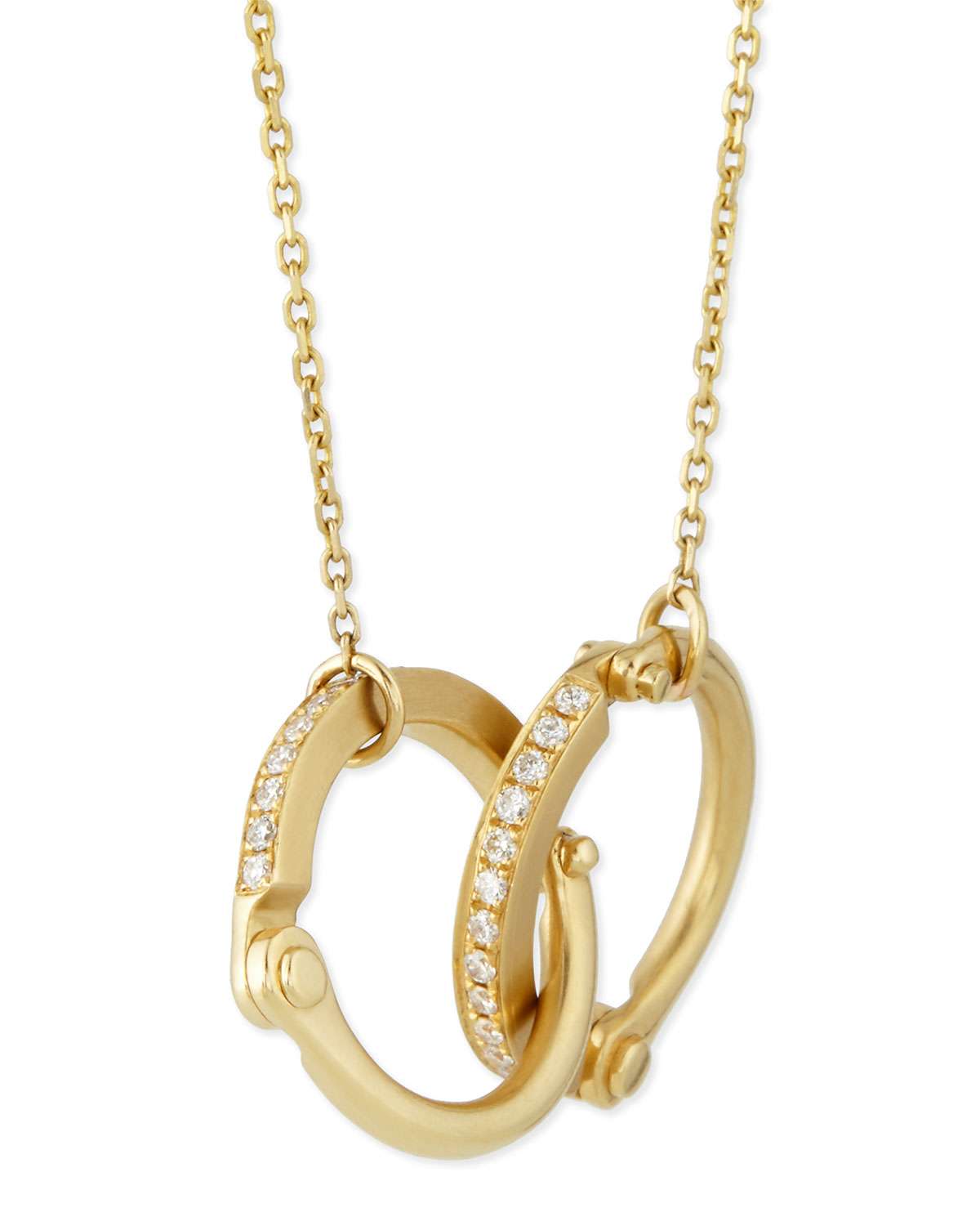 borgioni 18k yellow gold pav 233 handcuff necklace in