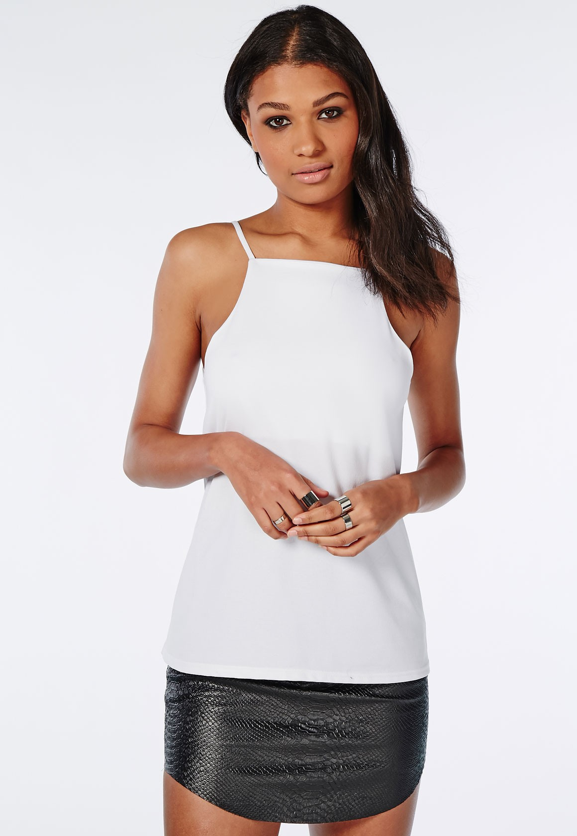 Lyst - Missguided High Neck Cami Top White in White