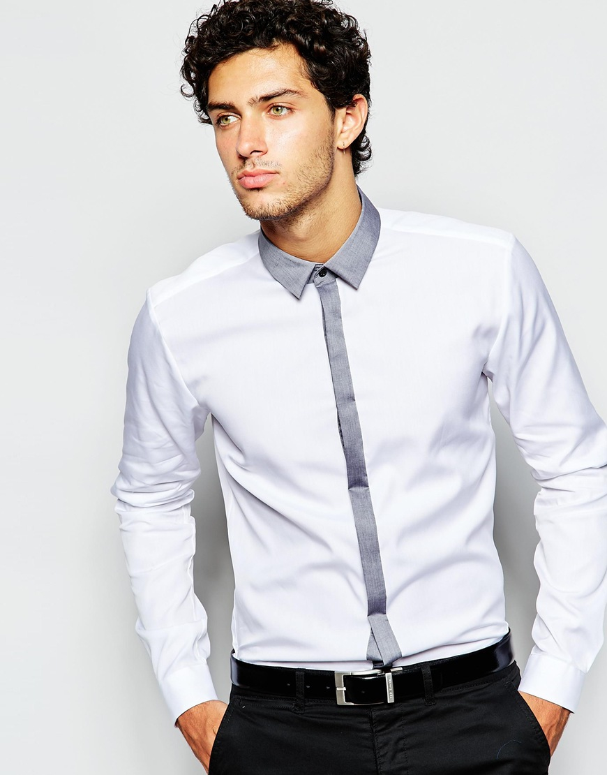 boss hugo by smart shirt with contrast placket slim fit in white for men lyst. Black Bedroom Furniture Sets. Home Design Ideas