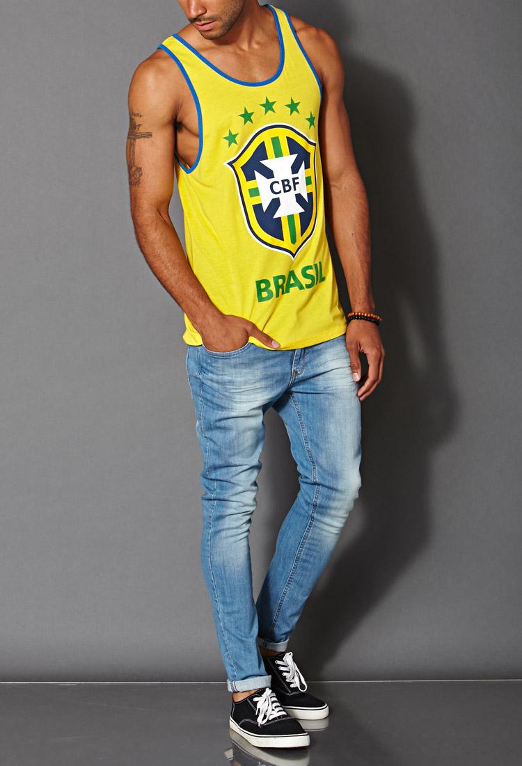 888fb5f2c107cf Lyst - Forever 21 Cbf Brasil Tank Top in Yellow for Men