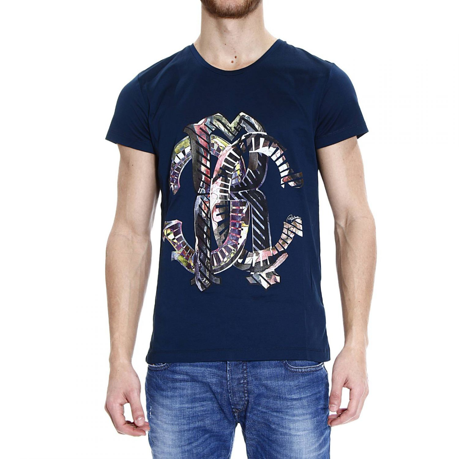 ROBERTO CAVALLI Mens T Shirt Tiger Graphic Tee Black & White Size Medium NWT See more like this. Roberto Cavalli T-Shirt Top Size M Glued & Velour Snakes Crew Neck FSTJD Brand New.