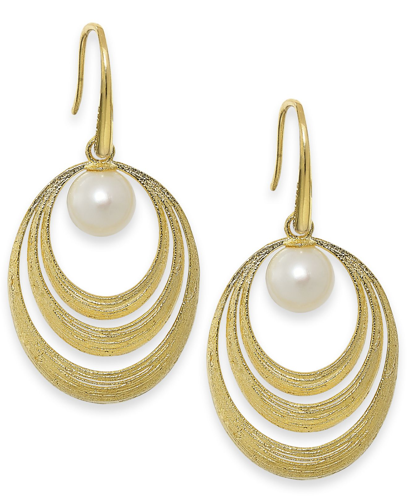 macy s pearl earrings macy s cultured freshwater pearl circle earrings in 18k 7408