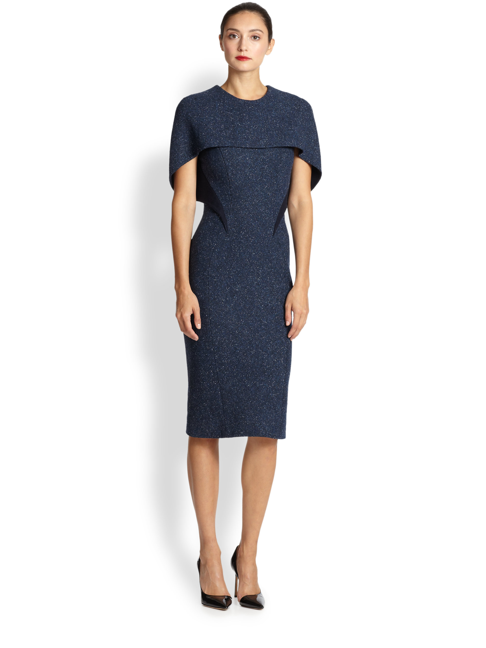 Zac posen Tweed Capelet Dress in Blue