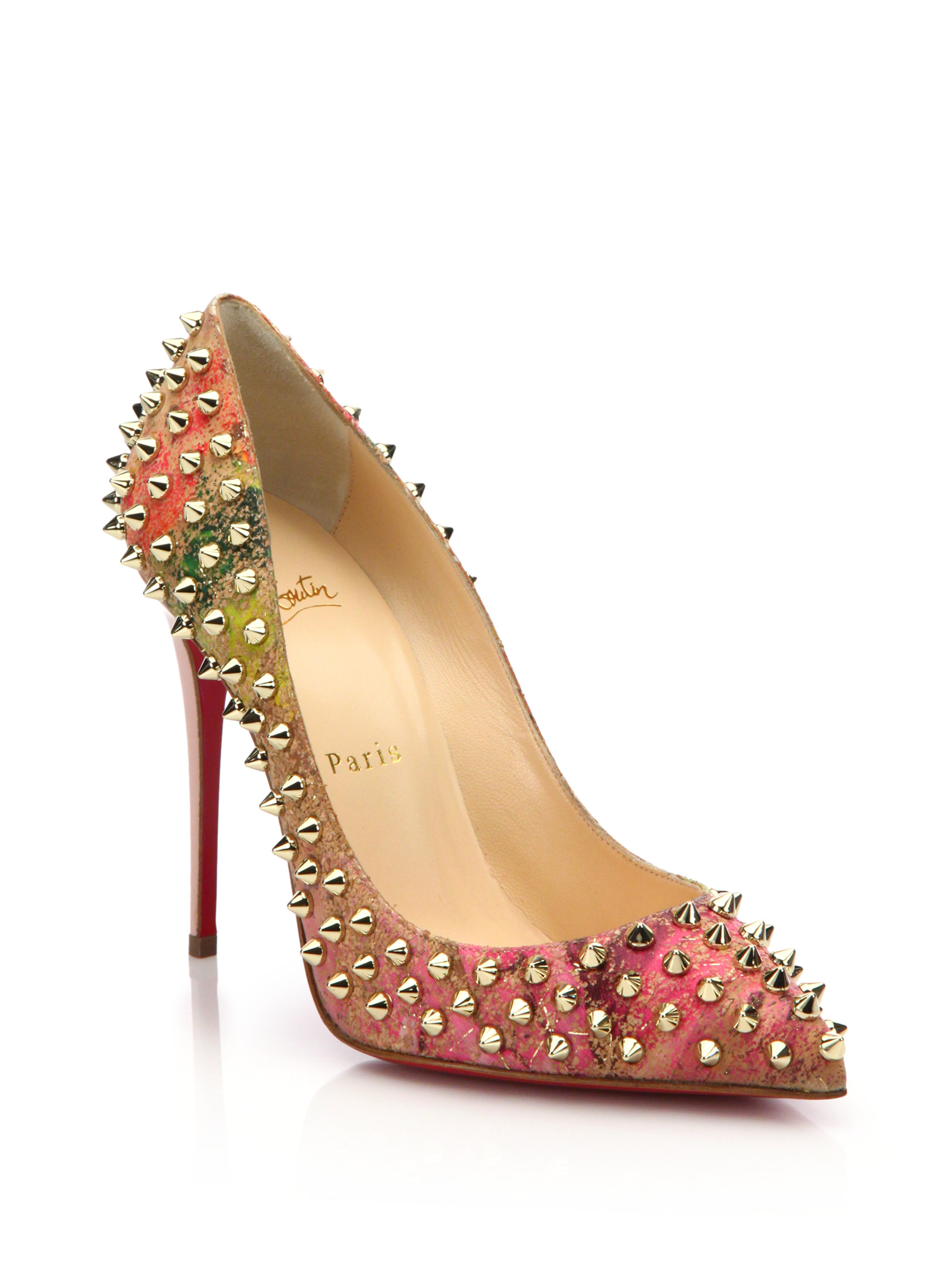 Lyst Christian Louboutin Spiked Cork Pumps