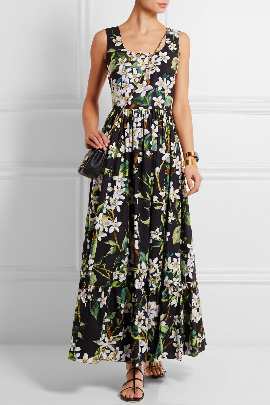 Dolce Amp Gabbana Floral Print Cotton Poplin Maxi Dress In