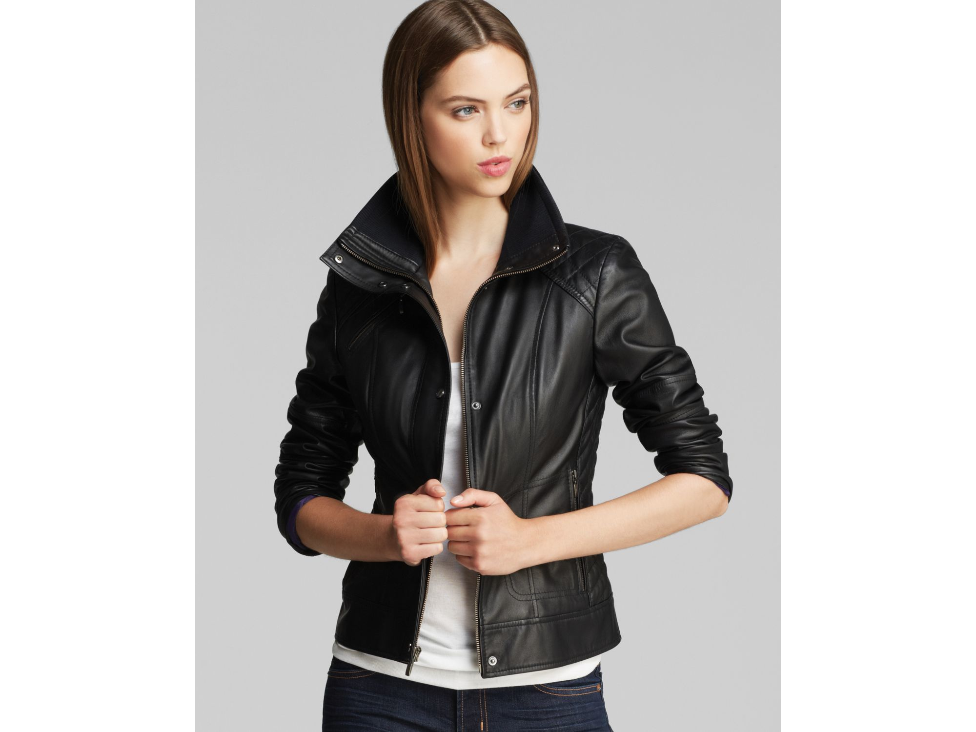 Cole Haan Leather Jacket With Diamond Quilting In Black Lyst