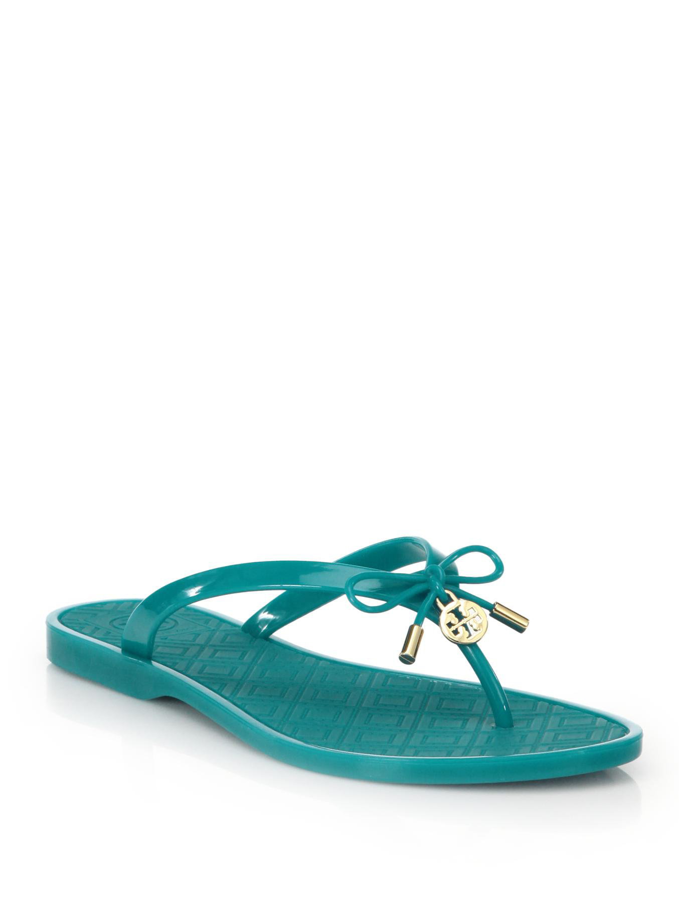 cca1d9ddc0ae Lyst - Tory Burch Jelly Bow Thong Sandals in Blue