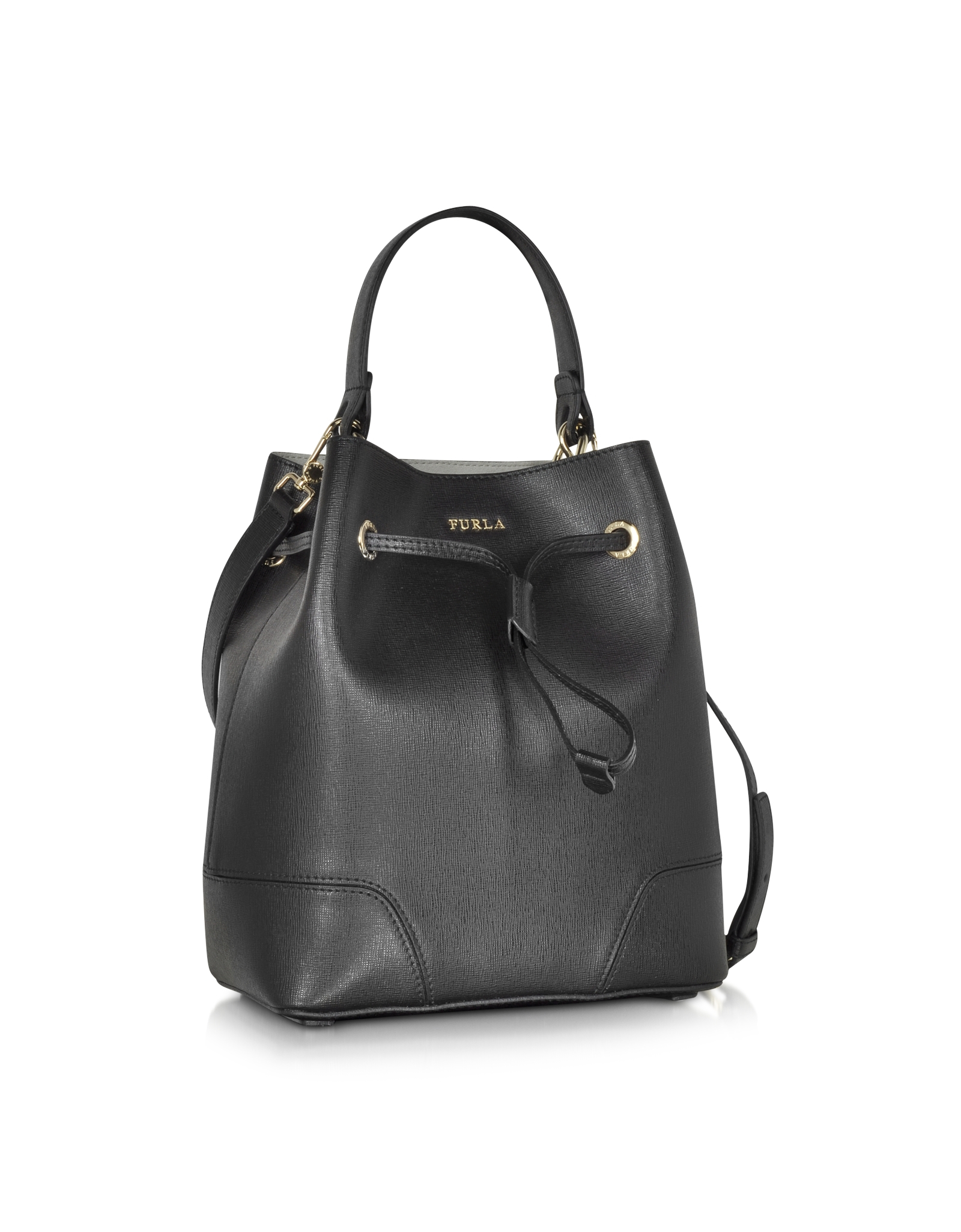 furla stacy onyx leather small bucket bag in black lyst. Black Bedroom Furniture Sets. Home Design Ideas