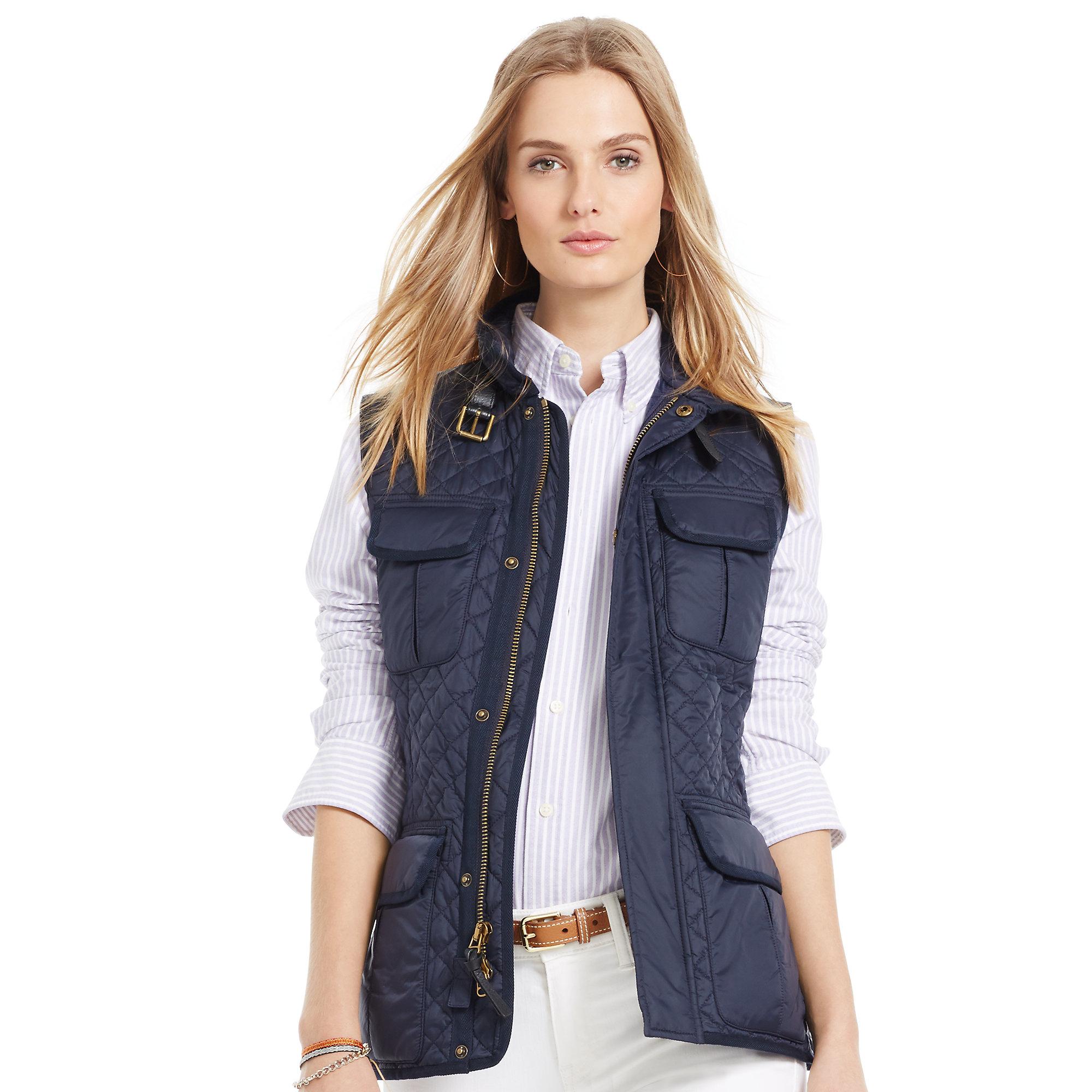 Polo Vest Zip Quilted Lauren Ralph Full Blue ZuOikXP