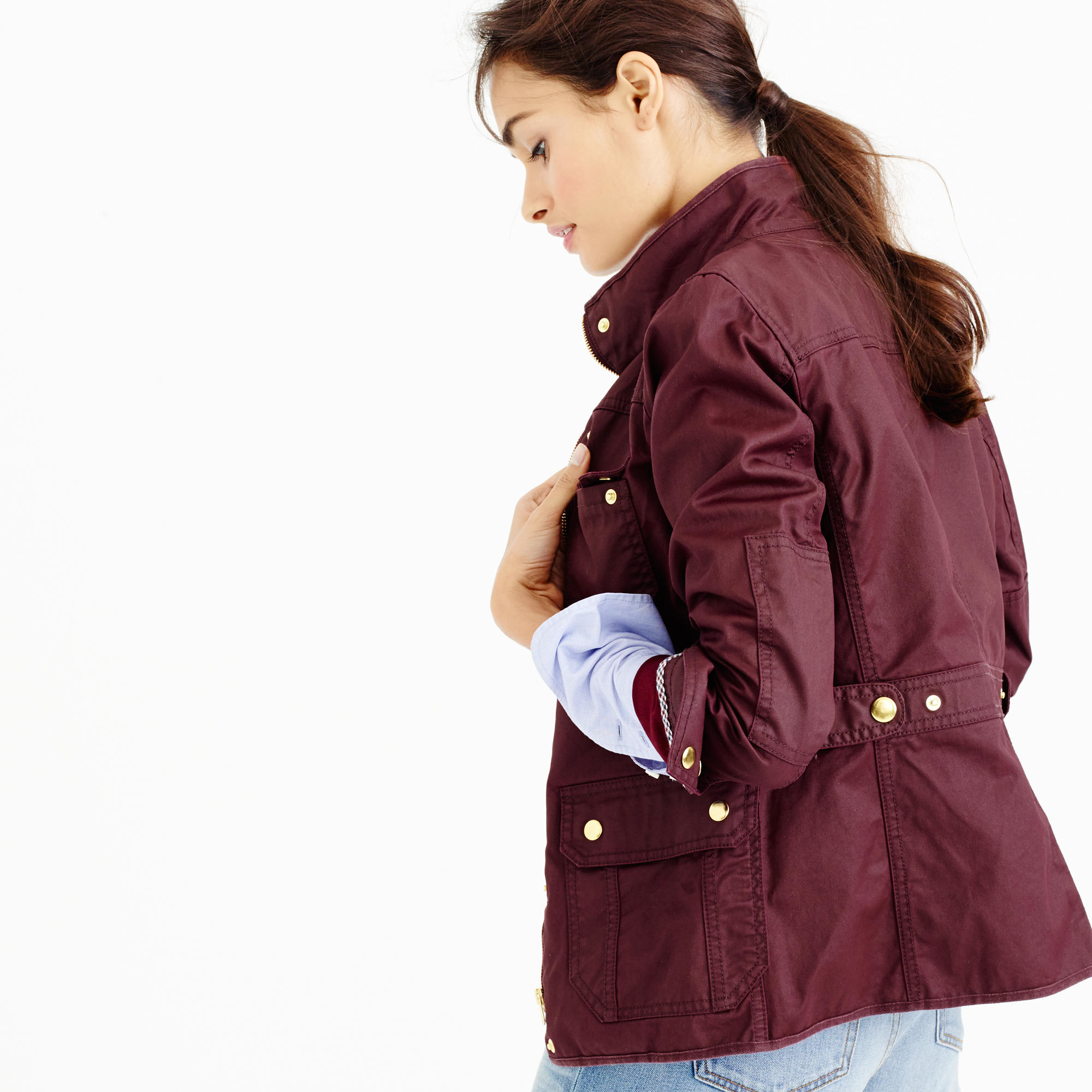 J Crew Cotton The Petite Downtown Field Jacket In Deep