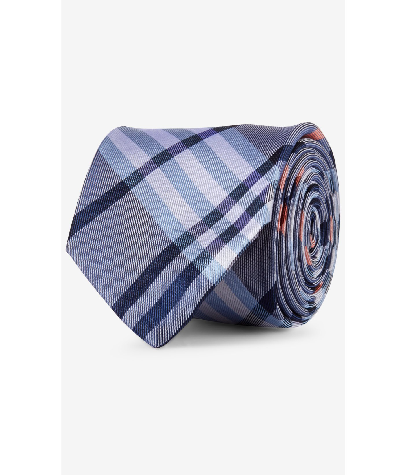 express narrow plaid silk tie gray in blue for lyst