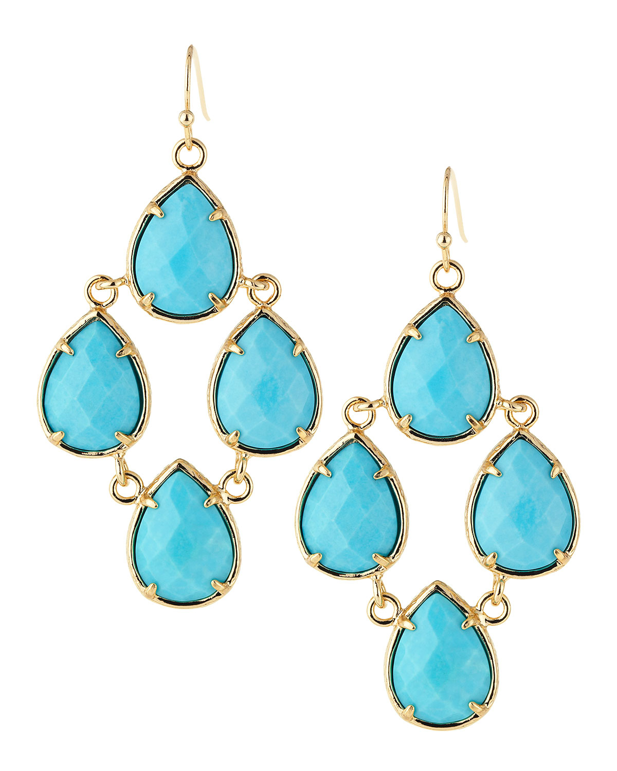 Lyst kendra scott teardrop chandelier earrings turquoise in blue gallery arubaitofo Images