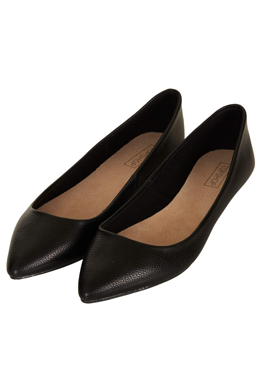 topshop voltaire softy pointed slip on shoes in black lyst