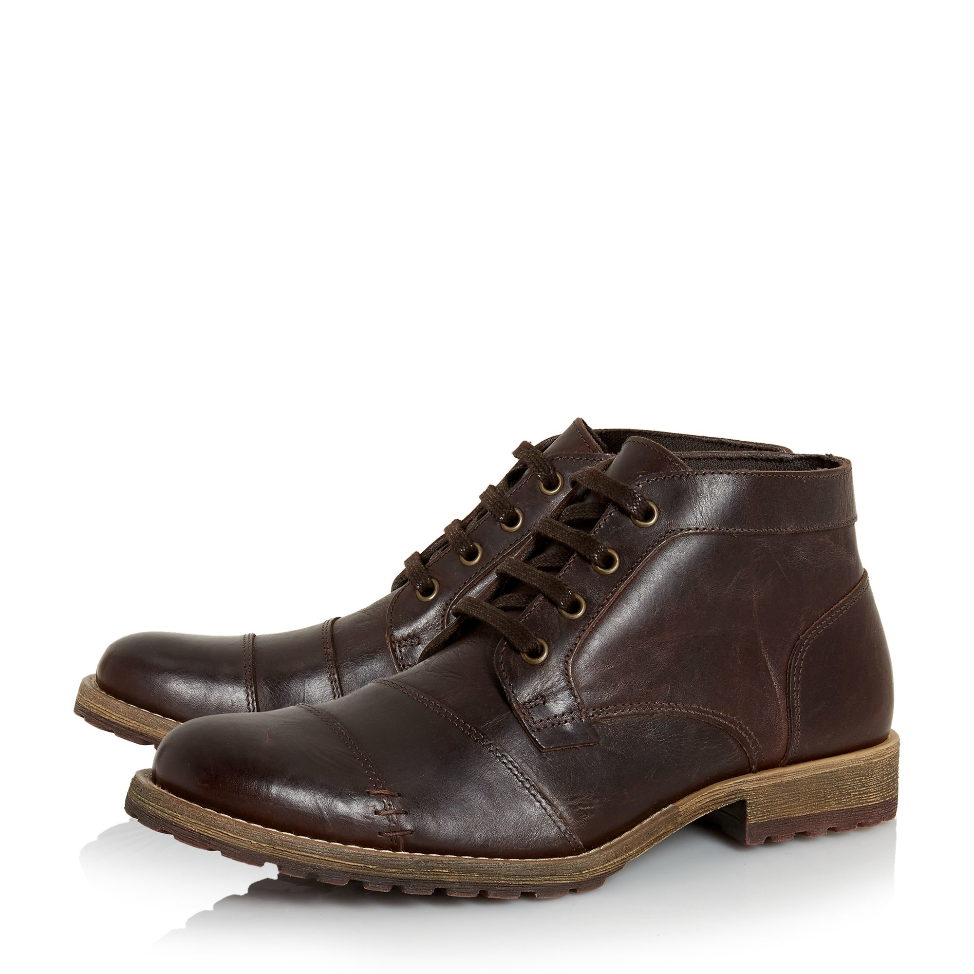 Dune Chamater Natural Sole Toecap Chukka Boots In Brown