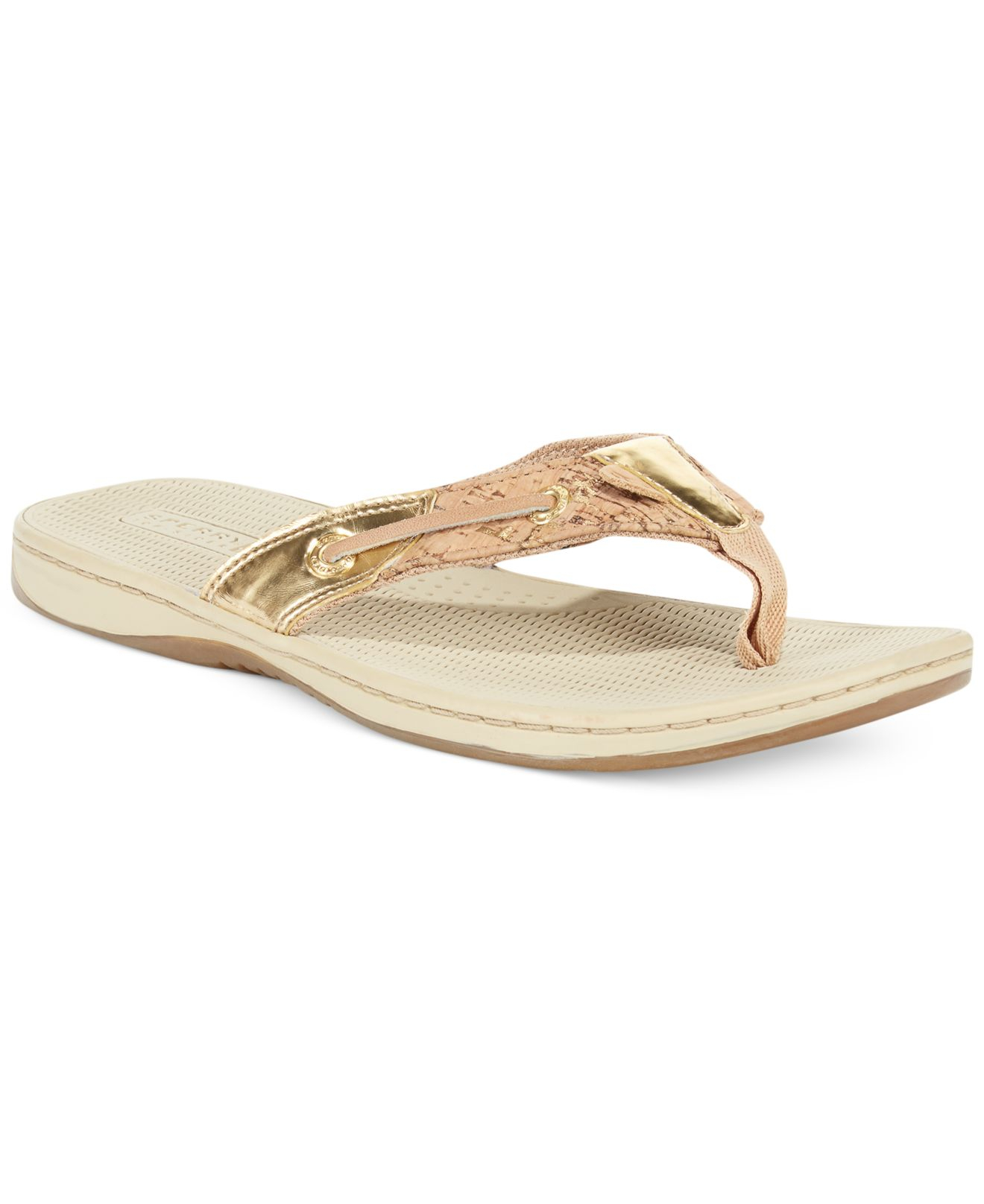 5b620f0551f2 Lyst - Sperry Top-Sider Sperry Women S Seafish Cork Thong Sandals in ...