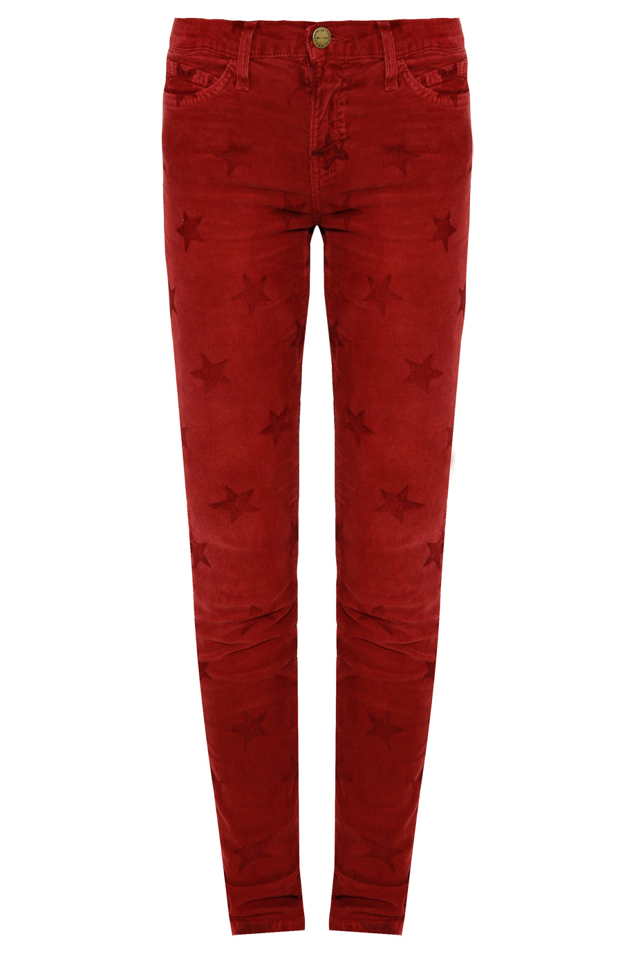 Current/elliott The Ankle Star Print Corduroy Skinny Jeans in Red