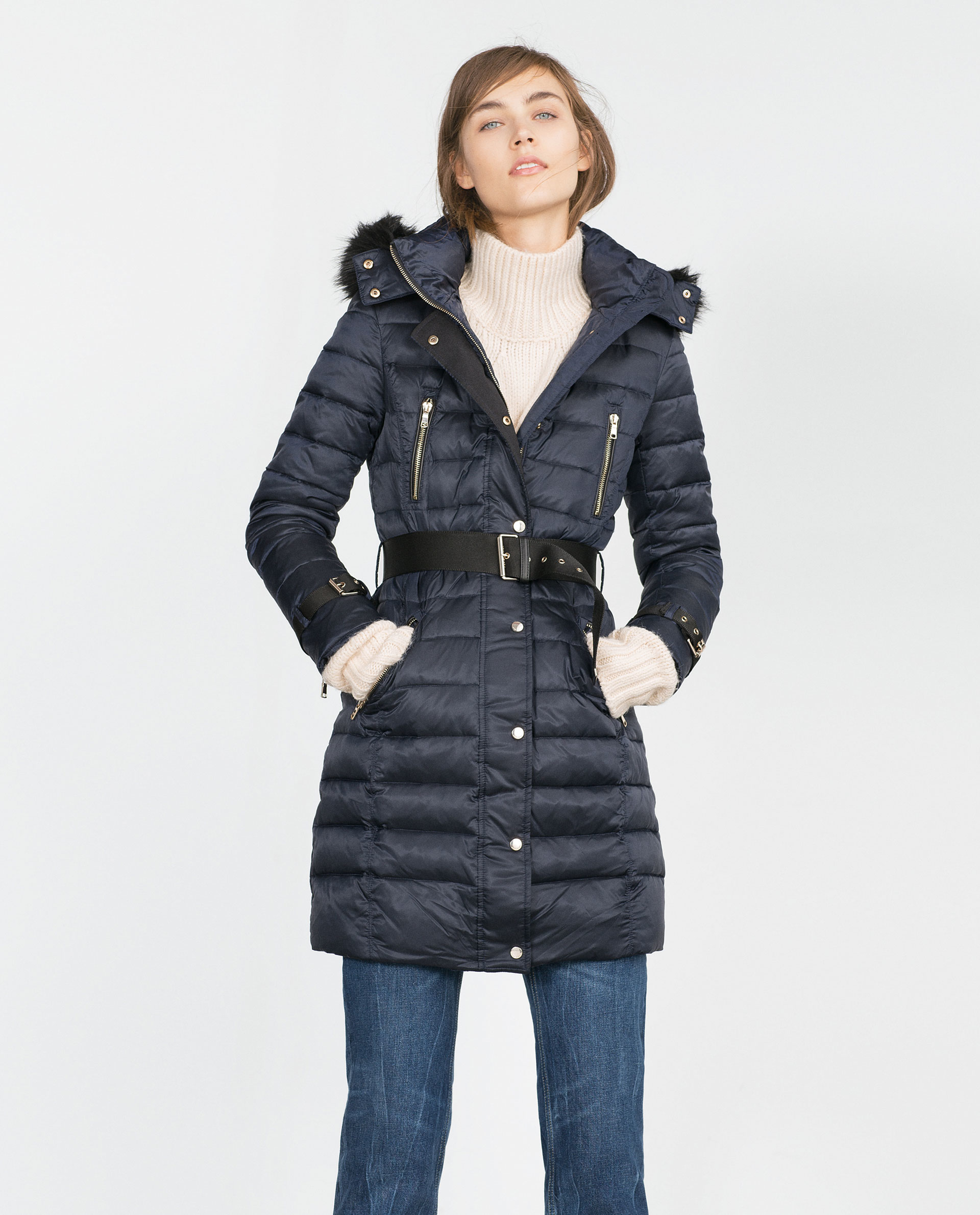 Zara Long Quilted Coat With Detachable Hood In Black Blue