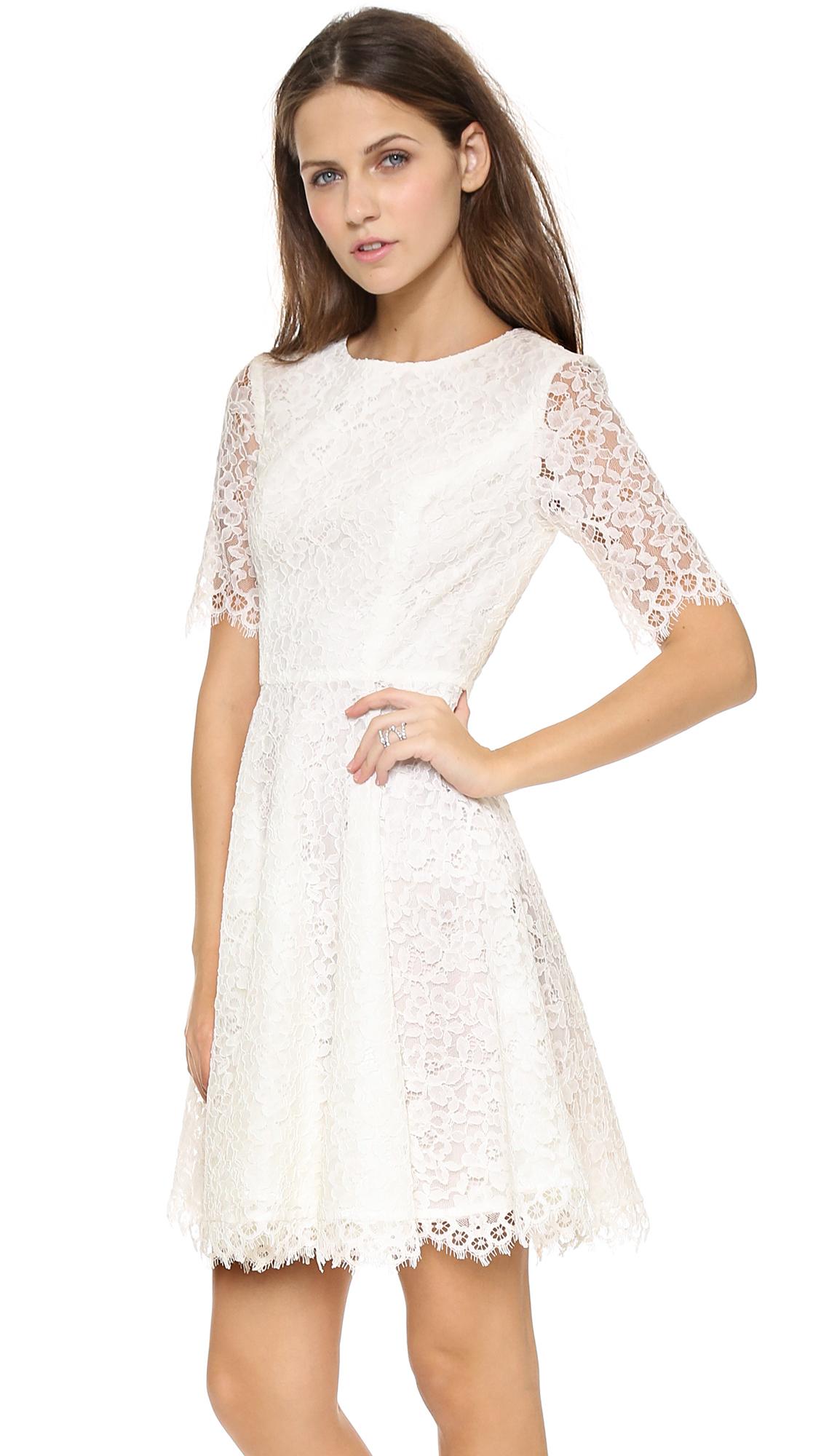 Shoshanna Lace Carmen Dress Ivory in White  Lyst
