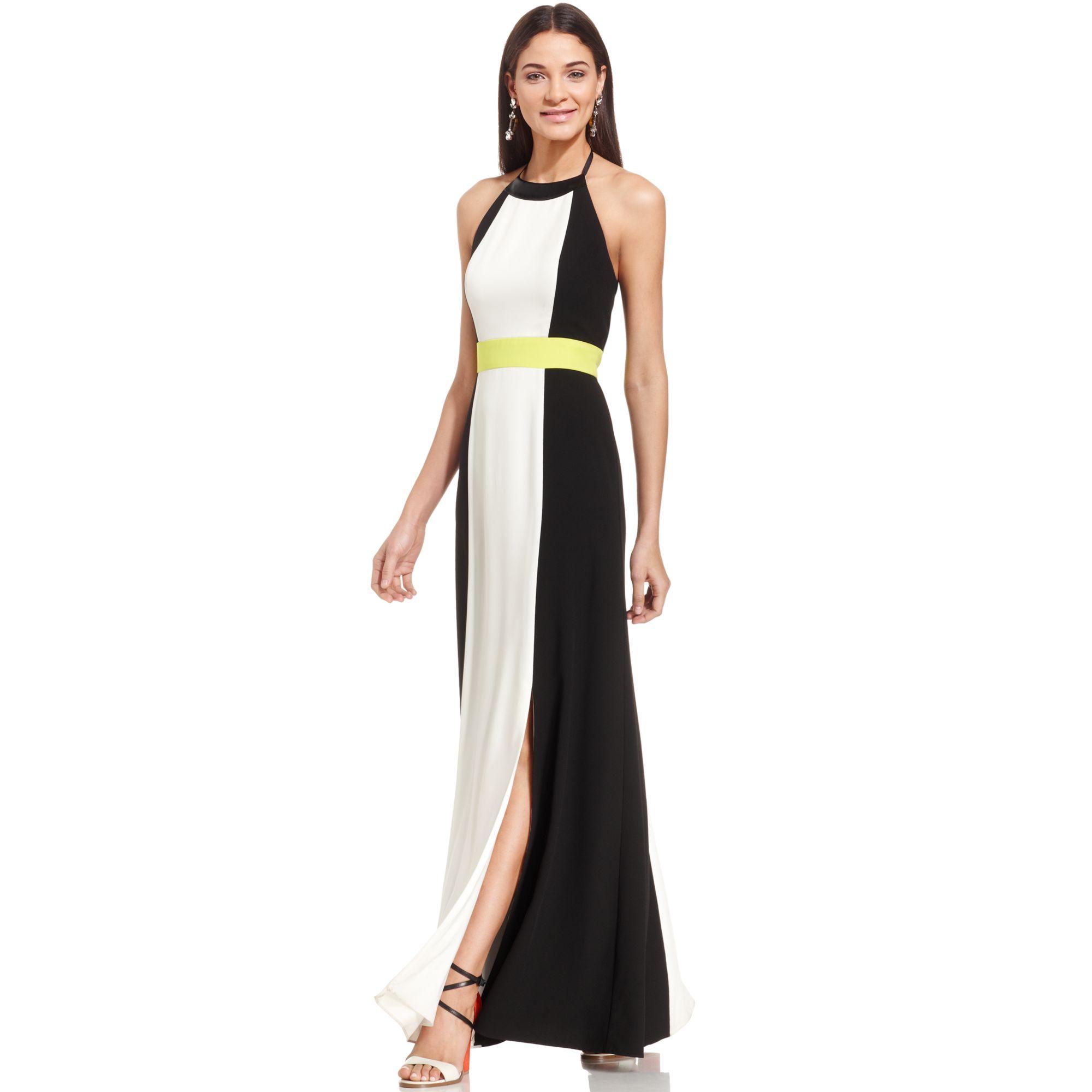 e25c063b8446f Lyst - Vince Camuto Colorblock Halter Maxi Dress in Black